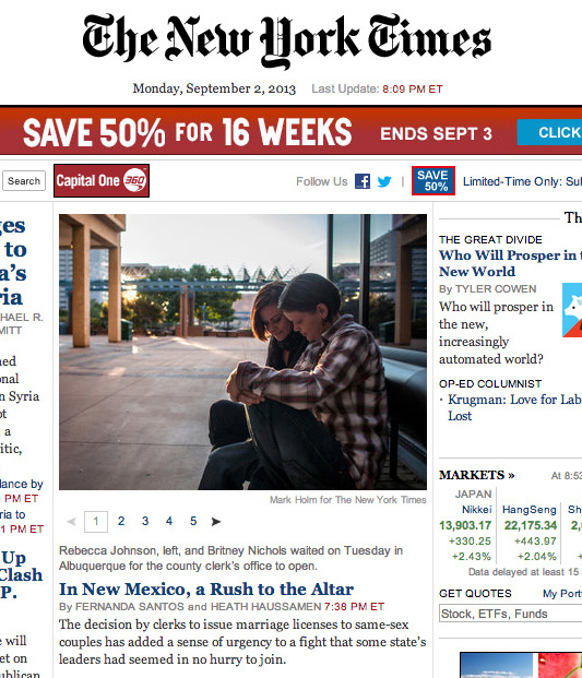 An article Haussamen co-authored was the lead story on The New York Times' homepage for a time on Sept. 2.