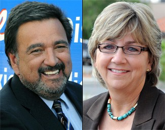 Gov. Bill Richardson, left, and Lt. Gov. Diane Denish (Photos by Heath Haussamen)