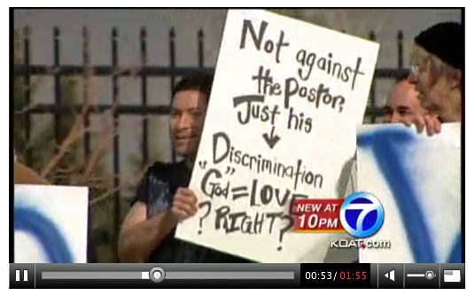 A screen shot of KOAT-TV's coverage of Sunday's protest.