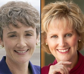 U.S. Senate candidate Heather Wilson, left, and U.S. Rep. candidate Janice Arnold-Jones