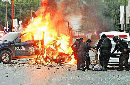 The Jurez Cartel detonated this car bomb in Cuidd Jurez, Mexico in 2010. (Department of Homeland Security photo)