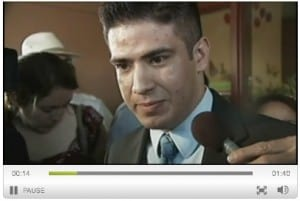 Javier Perea talking with reporters after being appointed mayor. (Screen shot from KFOX-TV's website)