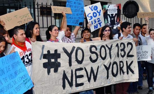 "Mexican expats rallied in support of the Mexican student movement ""Yo Soy 132"" at the Mexican Consulate in New York City on June 19."