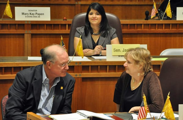 Jessica Jaramillo looks on while Senate Majority Leader Michael Sanchez advises Debbie Armstrong during Emerge New Mexicos 2010 training. The group recently lost its 501(c)(4) status because it exists for partisan reasons. (Courtesy photo)