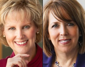 Janice Arnold-Jones, left, and Michelle Lujan Grisham
