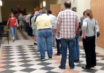 As this line of voters illustrates, turnout for the Soil and Water Conservation District election in May was higher than normal -- though still at about xx percent. But in general, turnout for such elections is low.  Many believe consolidating smaller elections would reduce costs, increase public awareness and raise voter turnout.