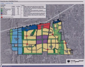 A map of the planned Santolina development west of Albuquerque. Click on the image to enlarge.
