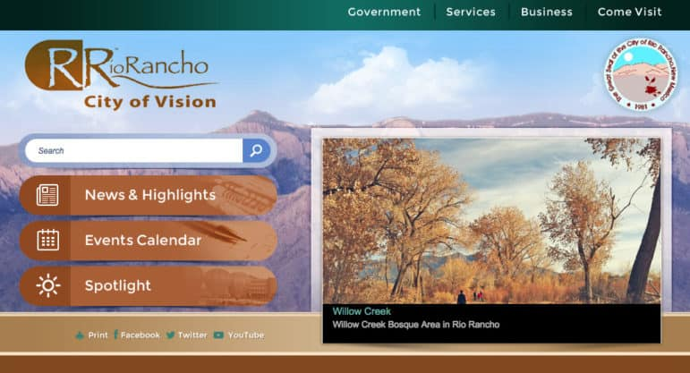 A screen shot of the City of Rio Rancho's website, which ranked highest among municipalities in New Mexico in the audit.